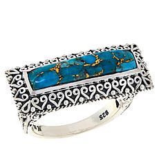 Bali RoManse Sterling Silver Mojave Turquoise Bar Ring