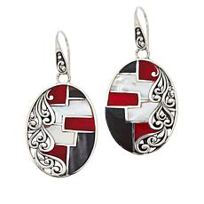 Bali RoManse Sterling Silver Mother-of-Pearl and Coral Mosaic Earrings