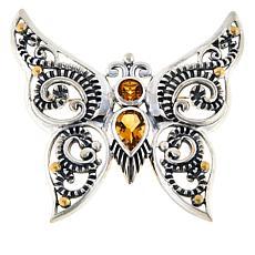 Bali RoManse Sterling Silver Multi-Gem Butterfly Scroll Pendant