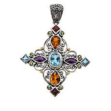 Bali RoManse Sterling Silver Multigemstone Cross Pendant