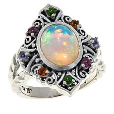 Bali RoManse Sterling Silver Opal and Multi-Gemstone Ring