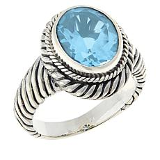 Bali RoManse Sterling Silver Oval Gemstone Cable Ring