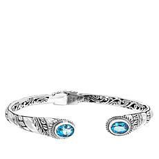 Bali RoManse Swiss Blue Topaz Leaf Design Cuff Bracelet
