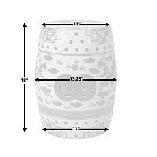 Balkene Home Double-Medallion Dragon-Embellished Ceramic Garden Stool