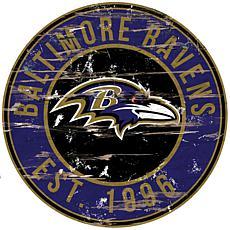 Baltimore Ravens Round Distressed Sign