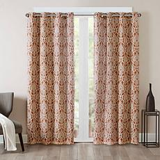 "Barto Textured Damask Panel Curtain - Spice/50""x95"""