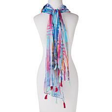 Basha Tie-Dye Chiffon Scarf with Tassels