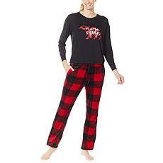 BEARPAW 2-piece Graphic Top with Plush Pant