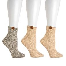 BEARPAW® 3-pair Pointelle Slub Knit Ankle Socks