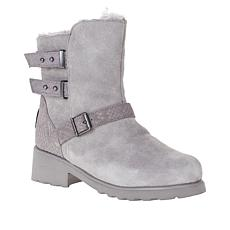 BEARPAW® Lucy Suede Sheepskin Moto Boot with NeverWet™
