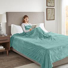 Beautyrest Heated Plush Blanket - Aqua Queen