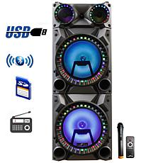 "beFree 12"" Portable Bluetooth Double Speaker System w/Reactive LEDs"