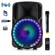 """beFree Sound 12"""" Bluetooth Rechargeable Portable Party Speaker w/LEDs"""