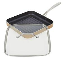 """Bell & Howell 10.5"""" Nonstick Square Grill Pan with Lid"""