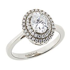 BellaMoi .98ctw Created Moissanite Oval Double Halo Ring