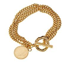Bellezza 100 Lira Coin Bronze 3-Row Curb Bracelet