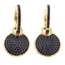 Bellezza 1.08ctw Black Spinel Convertible Pavé Hoop Drop Earrings