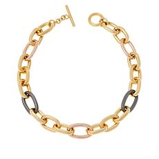 "Bellezza 17-13/16"" Bronze Polished Oval-Link Toggle Necklace"