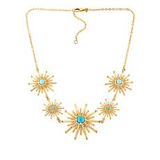 "Bellezza 18"" Bronze Turquoise Sunburst Station Necklace"