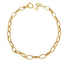 """Bellezza 24-1/2"""" Bronze Oval Link Lariat Initial Necklace"""