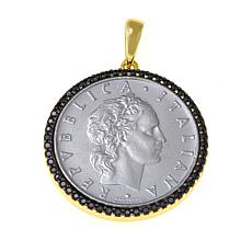 Bellezza 50 Lira Coin Black Spinel  Frame Bronze Pendant