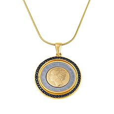 "Bellezza 500 Lira Coin Black Spinel Bronze Flip Pendant with 24"" Chain"