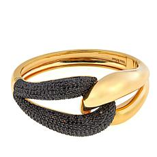 Bellezza 9.39ctw Black Spinel Bronze Knot Bangle Bracelet