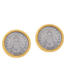 "Bellezza ""Bee"" Lira Coin Bronze Hammered Frame Stud Earrings"