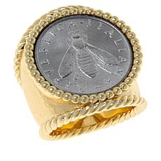 Bellezza Bee Lira Coin Bronze Hammered Ring