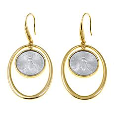 Bellezza Bee Lira Coin Bronze Oval Drop Earrings