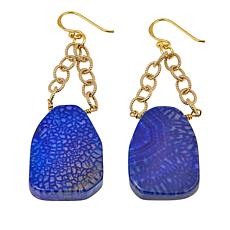 Bellezza Blue Agate Bronze Chain-Link Dangle Earrings
