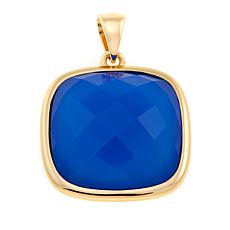 Bellezza Blue Agate Bronze Cushion Pendant