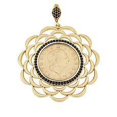 Bellezza Bronze Black Spinel 200 Lira Coin Flower Pendant