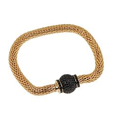 Bellezza Bronze Black Spinel Magnetic Clasp Mesh Bracelet