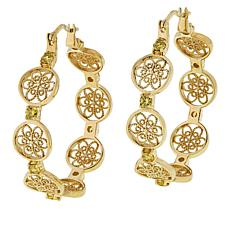Bellezza Bronze Cubic Zirconia Filigree Station Hoop Earrings