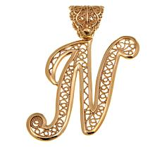 Bellezza Bronze Filigree Initial Pendant
