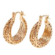 Bellezza Bronze Filigree Tapered Hoop Earrings