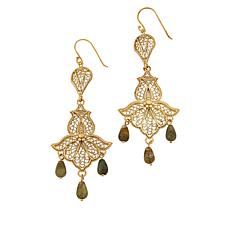 Bellezza Bronze Labradorite Bead Floral Filigree Earrings