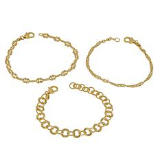 Bellezza Bronze Mixed Link 3-piece Bracelet Set