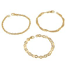 "Bellezza Bronze  Mixed Link 7-3/4"" 3-piece Bracelet Set"
