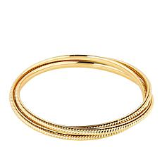 Bellezza Bronze Rope-Textured 3-piece Bangle Bracelet Set