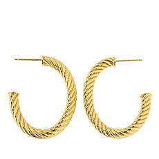 Bellezza Bronze Rope-Textured Oval Hoop Earrings