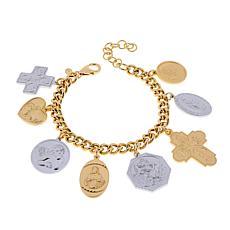Bellezza Bronze Two-Tone Religious Charm Bracelet