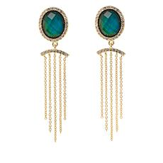 Bellezza Color-Changing Crystal Bronze Tassel Drop Earrings
