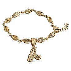 Bellezza Filigree Fish Bracelet with Initial Enhancer