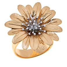 Bellezza Gold-Plated Sterling Silver Two-Tone Daisy Ring