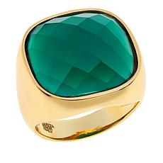 Bellezza Green Agate Bronze Cushion Solitaire Ring