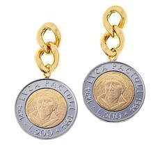 Bellezza Lira Coin Bronze Curb-Link Flip Earrings