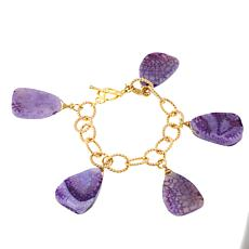 Clearance Bellezza Purple Agate Bronze Dangle Link Bracelet