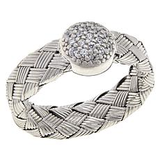 Bellezza Sterling Silver Cubic Zirconia Woven Pavé Disc Ring